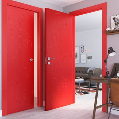 Porta a battente Flower Red rosso L 80 x H 210 cm destra
