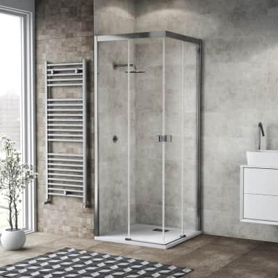 Box doccia scorrevole 90 x 90 cm, H 200 cm in vetro, spessore 6 mm trasparente cromato