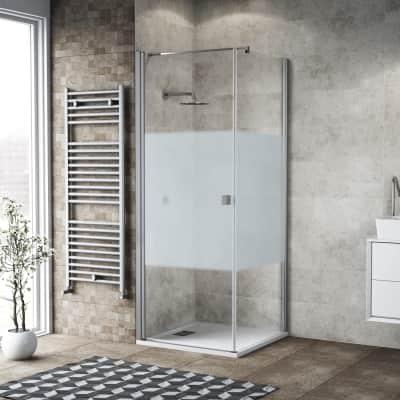 Box doccia battente 90 x 80 cm, H 200 cm in vetro, spessore 6 mm serigrafato bianco