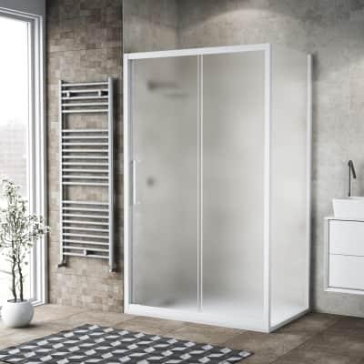 Box doccia scorrevole 170 x 80 cm, H 195 cm in vetro, spessore 6 mm spazzolato bianco