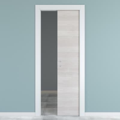 Porta scorrevole a scomparsa One ecrù/bianco L 80 x H 210 cm reversibile