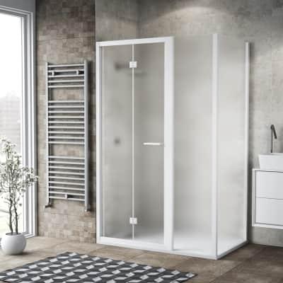 Box doccia pieghevole 135 x , H 195 cm in vetro, spessore 6 mm spazzolato bianco