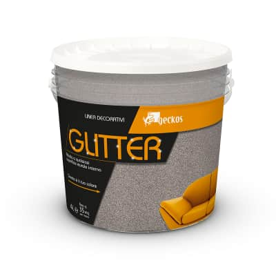 Pittura decorativa GECKOS Glitter 4 l marrone tortora effetto paillette