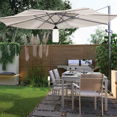Set tavolo e sedie Odyssea in alluminio grigio / argento 6 posti
