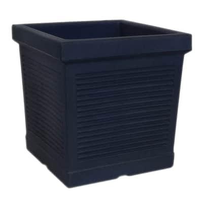 Vaso Quadro Millerighe in plastica colore antracite H 34.6 cm, L 35 x P 35 cm