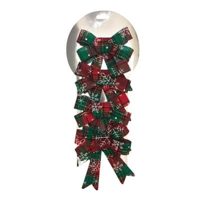 Decorazione per albero di natale Set 4 fiocchi in tessuto rossi e verdi H 12 cm, L 9 cm confezione da 4 pezzi