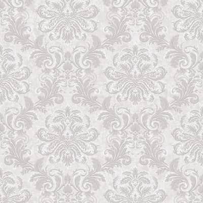 Carta da parati Grandamasco grigio e argento