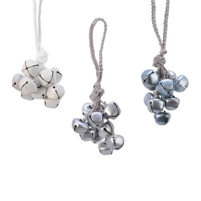 Grappolo di campanelline 3 colori assortiti bianco, argento e grigio