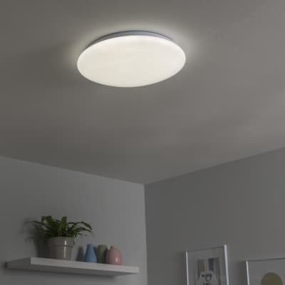 Plafoniera moderno Moon LED integrato bianco D. 40 cm 40x40 cm, INSPIRE