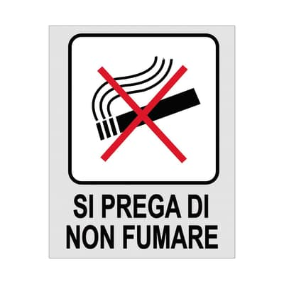 Cartello segnaletico Si prega di non fumare polipropilene 8 x 10 cm