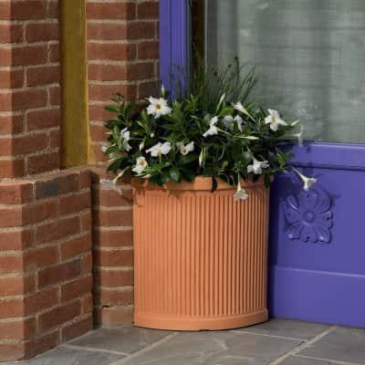Vaso angolare millerighe Siena in plastica colore impruneta H 53 cm, L 35 x P 35 cm