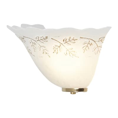 Applique Lira bianco e oro, in vetro, 15x30 cm, E27 MAX42W IP20