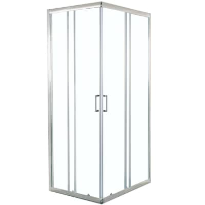 Box doccia rettangolare scorrevole 80 x 100 cm, H 190 cm in vetro temprato, spessore 6 mm trasparente cromato