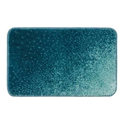 Tappeto bagno rettangolare Pixel in polipropilene blu 80 x 50 cm