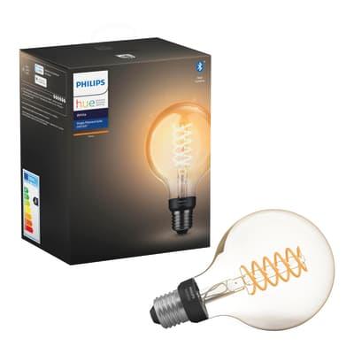 Lampadina smart lighting LED, HUE FILAMENT BLUETOOTH, E27, Globo, Trasparente, Luce calda, 7W=550LM (equiv 40 W), 150° , PHILIPS HUE