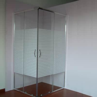 Box doccia rettangolare scorrevole Sirio 70 x 90 cm, H 190 cm in vetro, spessore 4 mm serigrafato cromato