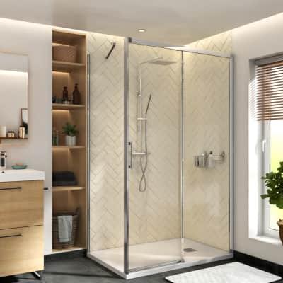 Porta doccia scorrevole Remix 120 cm, H 195 cm in vetro, spessore 8 mm trasparente cromato