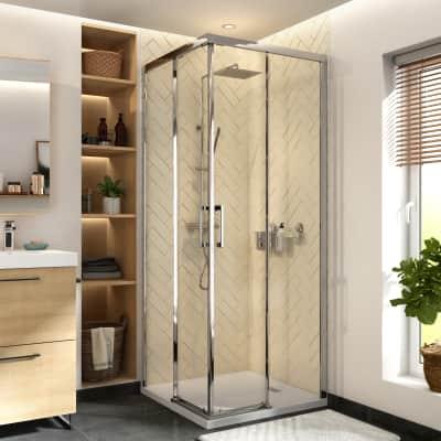 Box doccia quadrato scorrevole Remix 80 x 80 cm, H 195 cm in vetro temprato, spessore 8 mm trasparente cromato