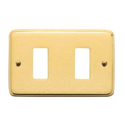 Placca CAL 8000 2 moduli satinato/lucido ottone