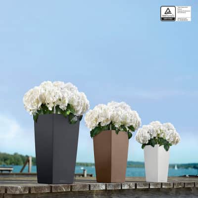 Vaso Cubico Color LECHUZA in plastica beige H 56 , L 30 X P 30 cm