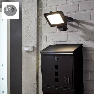 Proiettore LED integrato con sensore di movimento Yonkers in alluminio, nero, 30W 2700LM IP44 INSPIRE