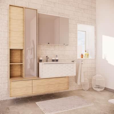 Mobile bagno Neo3 bianco e rovere grigio L 155 cm