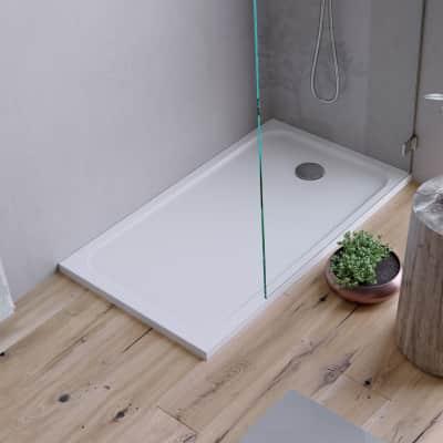 Piatto doccia ultrasottile resina sintetica e polvere di marmo Easy 70 x 120 cm bianco