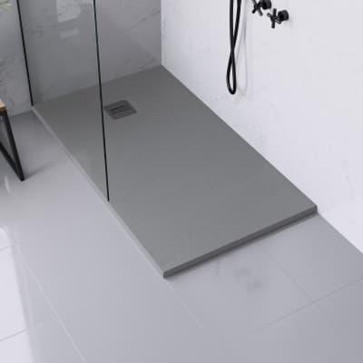 Piatto doccia ultrasottile resina sintetica e polvere di marmo Remix 80 x 140 cm grigio