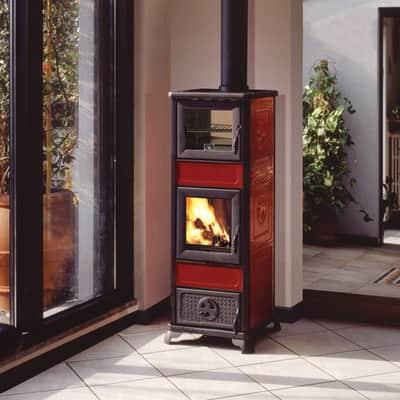Stufa a legna con forno INNOFIRE Gloria 7.2 kW bordeaux