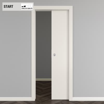Porta scorrevole a scomparsa Strauss bianco L 80 x H 210 cm reversibile