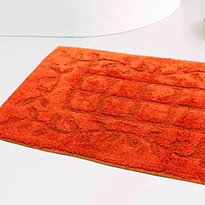 Set di tappetini rettangolare in cotone arancio 80 x 50 cm
