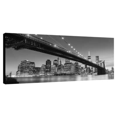 Quadro su tela Zoom Brooklyn brdige b&w 140x70 cm