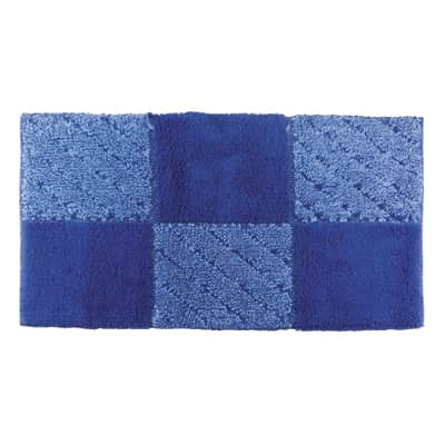 Tappeto bagno Tile in cotone azzurro, blu 90 x 55 cm