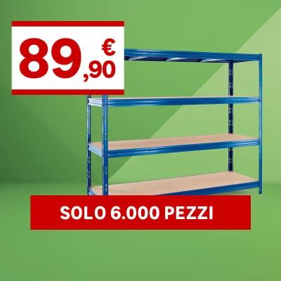 Scaffale in metallo Maximo L 210 x P 70 x H 180 cm blu