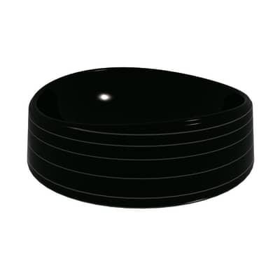 Lavabo Rotondo Texture in ceramica Ø 40 x H 14 cm nero