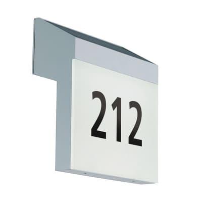 Applique Lunano per numeri civici LED integrato in policarbonato, argento, 2W 200LM IP44 EGLO