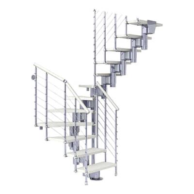 Scala a rampa due quarti di giro Long Tube FONTANOT L 90 cm, gradino bianco, struttura cromato