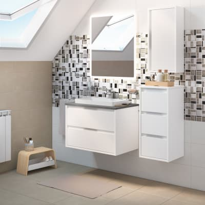 Mobile bagno Loto bianco L 75 cm