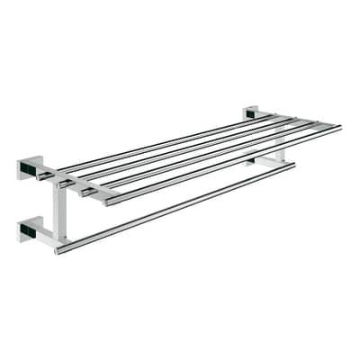 Porta salviette fisso a muro 1 barra Essentials Cube New cromo lucido L 55.8 cm