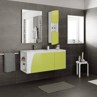Mobile bagno Soft verde acido L 116.5 cm