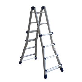 Scala telescopica alluminio Facal 4+4 gradini, per lavori fino a 4,9 m