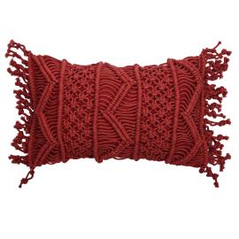 Cuscino Macrame rosso 30 x 50 cm