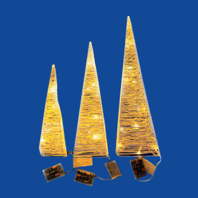 Set 3 coni 42 minilucciole Led classica gialla H 40 cm