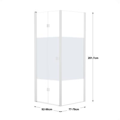 Doccia con porta pieghevole e lato fisso Neo 92 - 96 x 77 - 79 cm, H 201,7 cm vetro temperato 6 mm serigrafato/bianco opaco