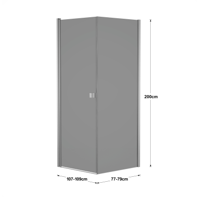 Doccia con porta battente e lato fisso Neo 67 - 69 x 77 - 79 cm, H 200 cm vetro temperato 6 mm fumè/silver