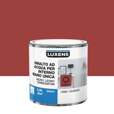 Smalto manounica Luxens all'acqua Rosso Carmen 3 opaco 0.5 L