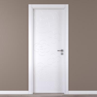 Porta da interno battente Flower white bianco 60 x H 210 cm sx