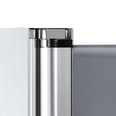 Doccia con porta battente e lato fisso Neo 89 - 91 x 77 - 79 cm, H 200 cm vetro temperato 6 mm trasparente/nero