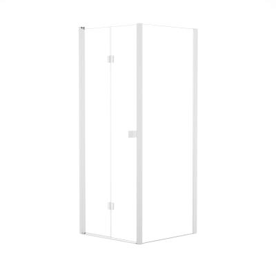 Doccia con porta pieghevole e lato fisso Neo 92 - 96 x 77 - 79 cm, H 201,7 cm vetro temperato 6 mm trasparente/bianco opaco