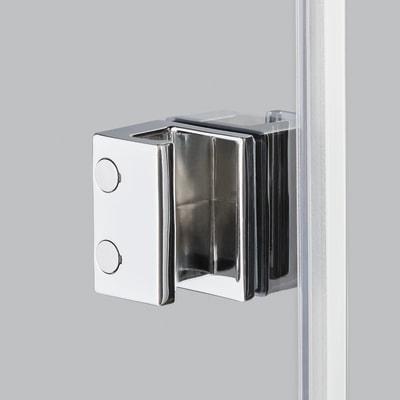 Doccia con porta pieghevole e lato fisso Neo 82 - 86 x 77 - 79 cm, H 201,7 cm vetro temperato 6 mm trasparente/nero